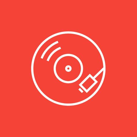 Turntable icône de la ligne épaisse avec des coins pointus et des bords pour le web, le mobile et infographies. Vector icône isolé.