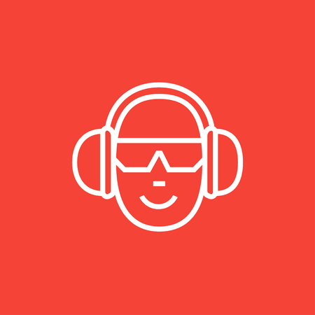 Man in headphones thick line icon with pointed corners and edges for web, mobile and infographics. Vector isolated icon. Illustration