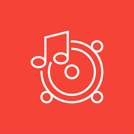 sub woofer: Loudspeakers with music note thick line icon with pointed corners and edges for web, mobile and infographics. Vector isolated icon.