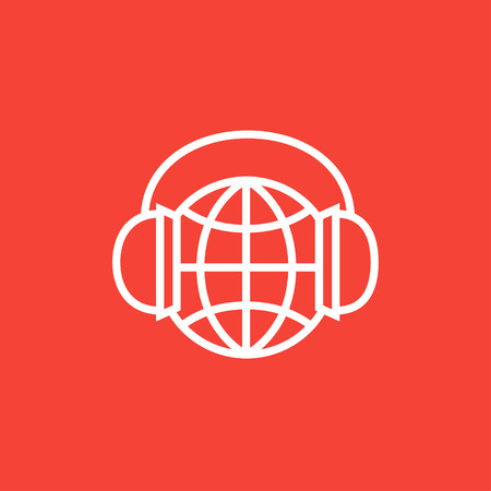 Globe in headphones thick line icon with pointed corners and edges for web, mobile and infographics. Vector isolated icon.