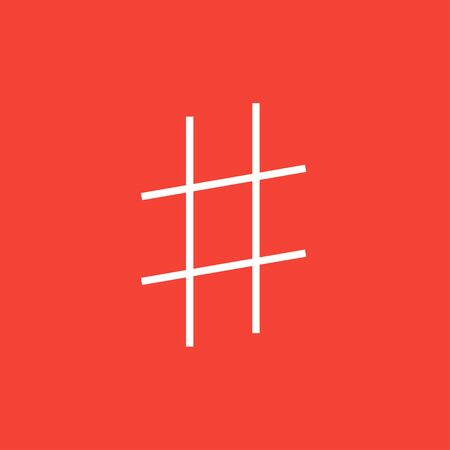 microblogging: Hashtag symbol thick line icon with pointed corners and edges for web, mobile and infographics. Vector isolated icon.