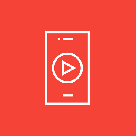 delta cell: Smartphone with play button on a screen thick line icon with pointed corners and edges for web, mobile and infographics. Vector isolated icon.