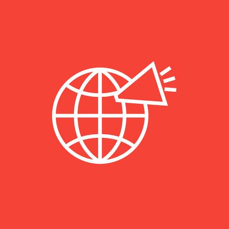 Globe con altoparlante linea spessa icona con angoli appuntiti e bordi per il web, mobile e infografica. Vettore isolato icona.