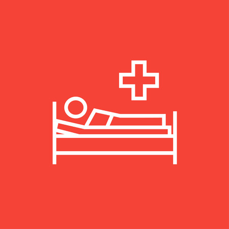 lying in bed: Patient lying on the bed thick line icon with pointed corners and edges for web, mobile and infographics. Vector isolated icon.
