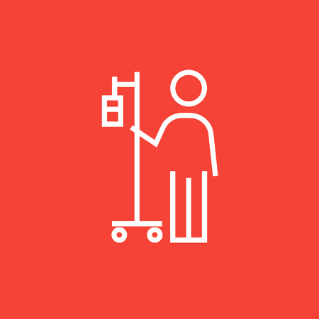standing in line: Patient standing with intravenous dropper thick line icon with pointed corners and edges for web, mobile and infographics. Vector isolated icon.