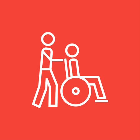 A man pushing a wheelchair with a patient thick line icon with pointed corners and edges for web, mobile and infographics. Vector isolated icon.