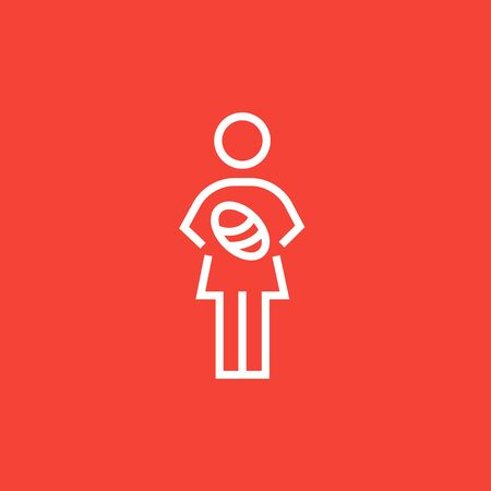 Woman holding the baby thick line icon with pointed corners and edges for web, mobile and infographics. Vector isolated icon. Ilustracja