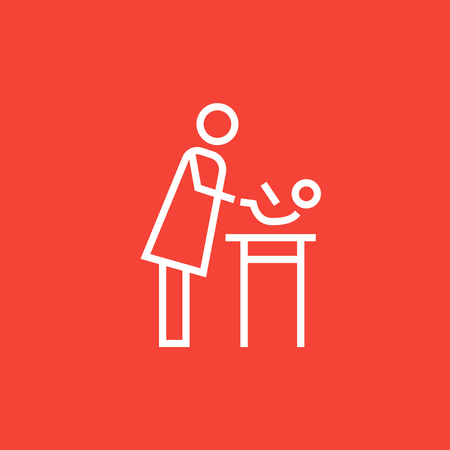 laying: Mother taking care of the baby thick line icon with pointed corners and edges for web, mobile and infographics. Vector isolated icon. Illustration