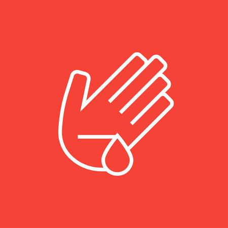 to wound: palma heridos icono de línea gruesa con esquinas puntiagudas y bordes para web, móvil y la infografía. aislado vector icono.