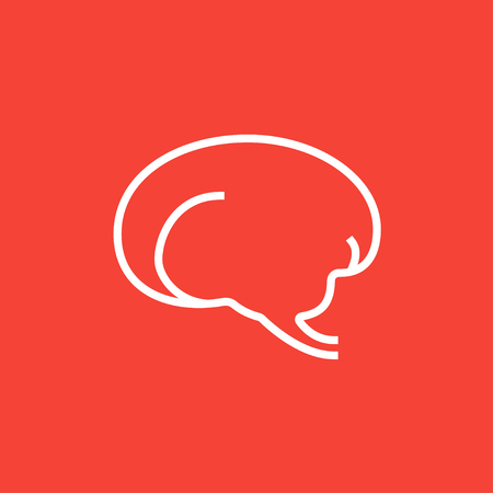 neuronal: Brain thick line icon with pointed corners and edges for web, mobile and infographics. Vector isolated icon.