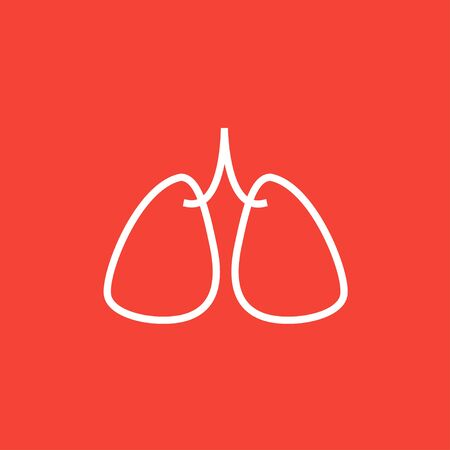 Lungs thick line icon with pointed corners and edges for web, mobile and infographics. Vector isolated icon.