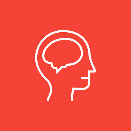 neurosurgery: Human head with brain thick line icon with pointed corners and edges for web, mobile and infographics. Vector isolated icon.