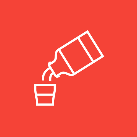 cough syrup: Medicine and measuring cup thick line icon with pointed corners and edges for web, mobile and infographics. Vector isolated icon.