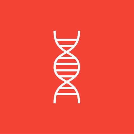 DNA thick line icon with pointed corners and edges for web, mobile and infographics. Vector isolated icon.