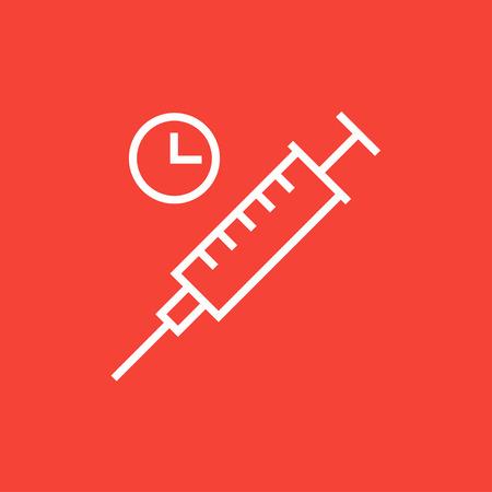inyeccion intramuscular: Jeringa con el icono del reloj de l�nea gruesa con esquinas puntiagudas y bordes para web, m�vil y la infograf�a. aislado vector icono. Vectores