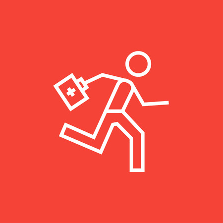 paramedic: Paramedic running with first aid kit thick line icon with pointed corners and edges for web, mobile and infographics. Vector isolated icon. Illustration
