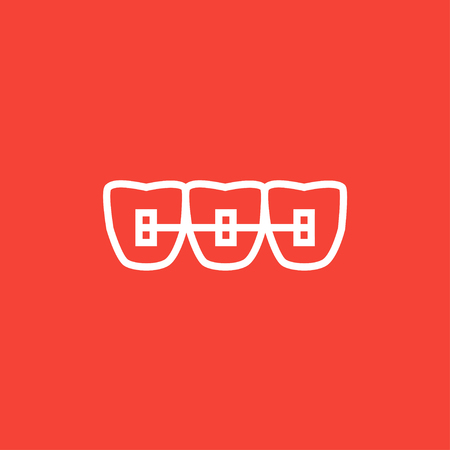 orthodontic: Orthodontic braces thick line icon with pointed corners and edges for web, mobile and infographics. Vector isolated icon. Illustration