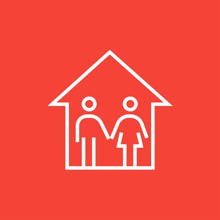 family isolated: Family house thick line icon with pointed corners and edges for web, mobile and infographics. Vector isolated icon. Illustration