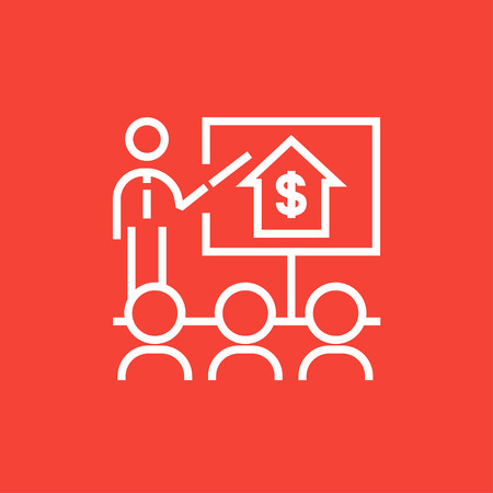 valuation: Real estate training thick line icon with pointed corners and edges for web, mobile and infographics. Vector isolated icon.
