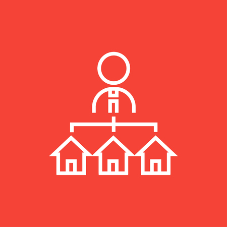possession: Real estate agent with three houses thick line icon with pointed corners and edges for web, mobile and infographics. Vector isolated icon.