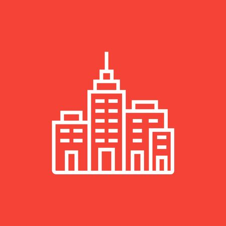 multi storey: Residential buildings thick line icon with pointed corners and edges for web, mobile and infographics. Vector isolated icon.