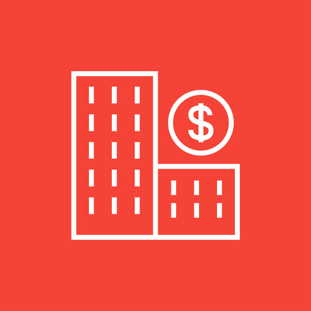condominium: Condominium with dollar symbol thick line icon with pointed corners and edges for web, mobile and infographics. Vector isolated icon.