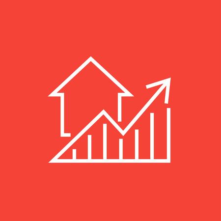 Graphique de prix de l'immobilier croissance icône de la ligne épaisse avec des coins pointus et des bords pour le web, le mobile et infographies. Vector icône isolé.