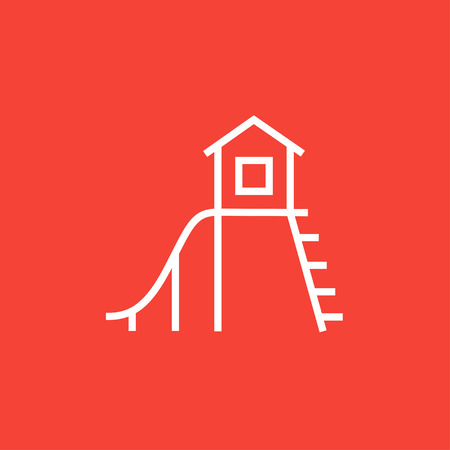 playhouse: Playhouse with slide thick line icon with pointed corners and edges for web, mobile and infographics. Vector isolated icon.