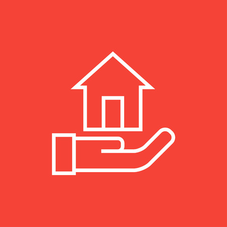 belay: House insurance thick line icon with pointed corners and edges for web, mobile and infographics. Vector isolated icon. Illustration