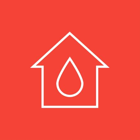 constraction: House with water drop thick line icon with pointed corners and edges for web, mobile and infographics. Vector isolated icon.