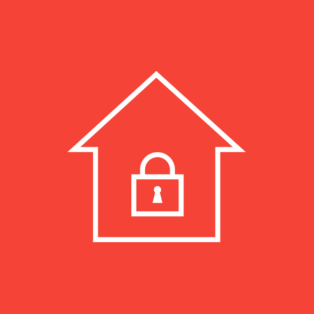 safeness: House with a closed lock thick line icon with pointed corners and edges for web, mobile and infographics. Vector isolated icon.