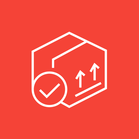 pointed arrows: Carton package box with two arrows up thick line icon with pointed corners and edges for web, mobile and infographics. Vector isolated icon.