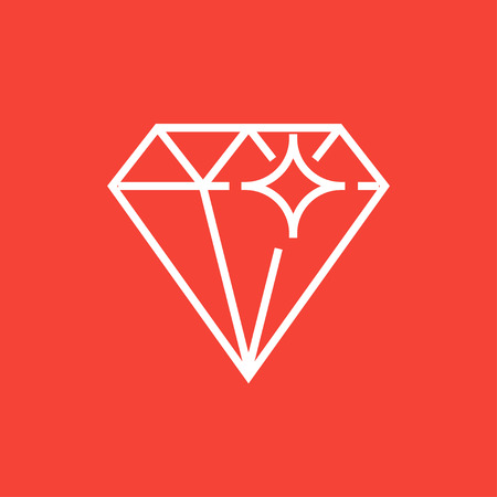 adamant: Diamond thick line icon with pointed corners and edges for web, mobile and infographics. Vector isolated icon. Illustration