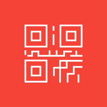 quick response: QR code thick line icon with pointed corners and edges for web, mobile and infographics. Vector isolated icon. Illustration