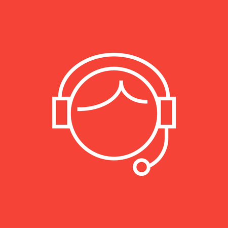 Operator of customer service thick line icon with pointed corners and edges for web, mobile and infographics. Vector isolated icon.