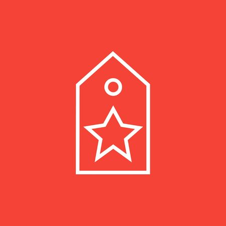 Tag with star thick line icon with pointed corners and edges for web, mobile and infographics. Vector isolated icon. Çizim