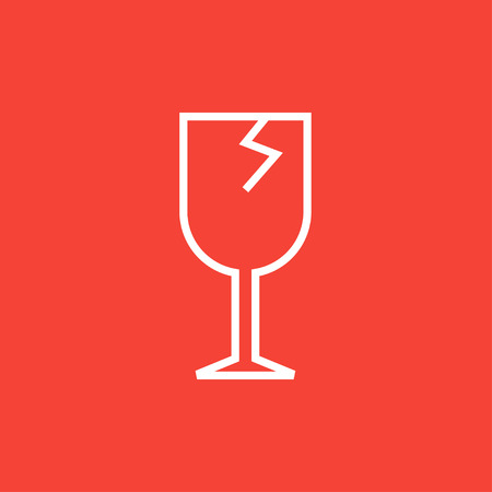 cracked glass: Cracked glass thick line icon with pointed corners and edges for web, mobile and infographics. Vector isolated icon. Illustration