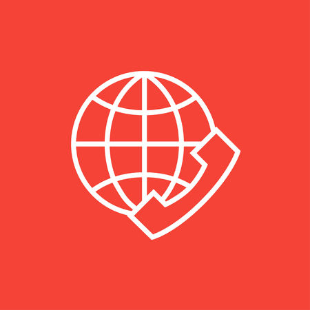 mobile headset: A globe with a headset thick line icon with pointed corners and edges for web, mobile and infographics. Vector isolated icon. Illustration