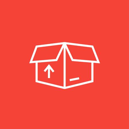 Caja abierta paquete de cartón con la flecha hacia arriba icono de línea gruesa con esquinas puntiagudas y bordes para web, móvil y la infografía. aislado vector icono. Foto de archivo - 55012561
