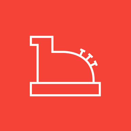 checkout line: Cash register machine thick line icon with pointed corners and edges for web, mobile and infographics. Vector isolated icon. Illustration