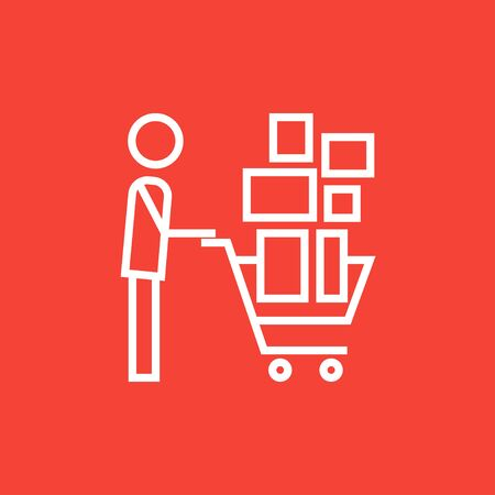 man pushing: Man pushing shopping cart with boxes thick line icon with pointed corners and edges for web, mobile and infographics. Vector isolated icon.