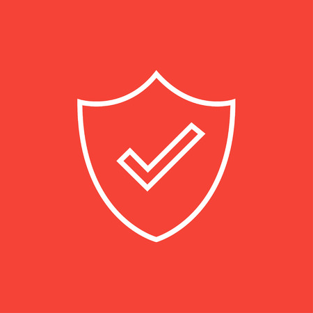 confirmed: Quality is confirmed sign thick line icon with pointed corners and edges for web, mobile and infographics. Vector isolated icon.