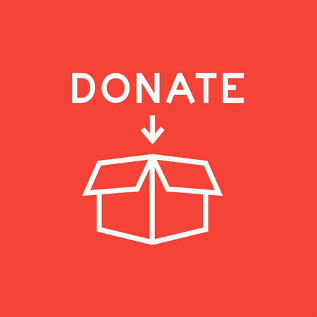 offering: Open donation box thick line icon with pointed corners and edges for web, mobile and infographics. Vector isolated icon.