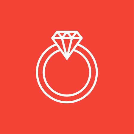 Diamond ring thick line icon with pointed corners and edges for web, mobile and infographics. Vector isolated icon.