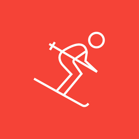 downhill skiing: Downhill skiing thick line icon with pointed corners and edges for web, mobile and infographics. Vector isolated icon.