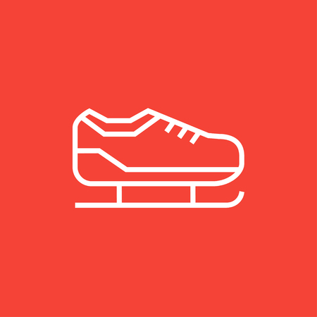 Skate thick line icon with pointed corners and edges for web, mobile and infographics. Vector isolated icon.