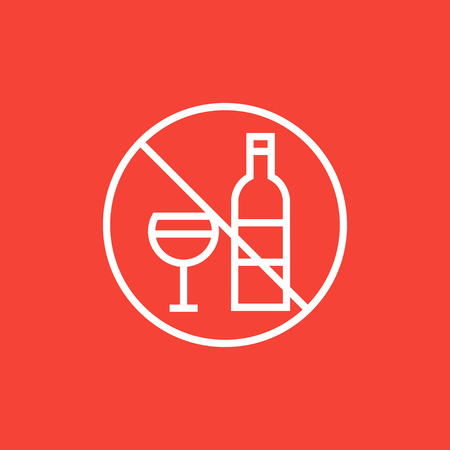 No alcohol sign thick line icon with pointed corners and edges for web, mobile and infographics. Vector isolated icon.