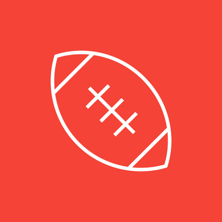 leather stitch: Rugby football ball thick line icon with pointed corners and edges for web, mobile and infographics. Vector isolated icon. Illustration