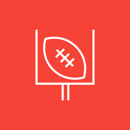 Gate and ball for rugby thick line icon with pointed corners and edges for web, mobile and infographics. Vector isolated icon.