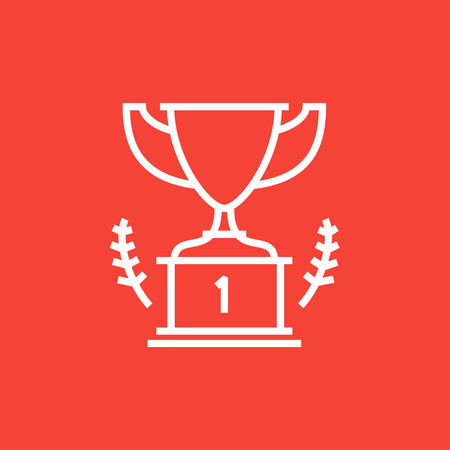 Trophy thick line icon with pointed corners and edges for web, mobile and infographics. Vector isolated icon.